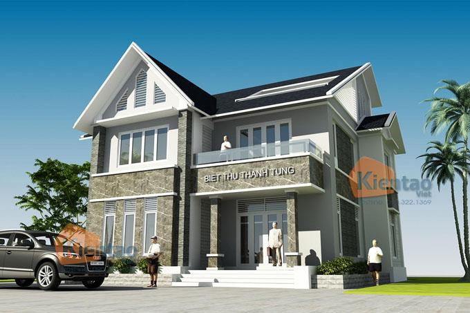 Mẫu biệt thự 2.5 tầng hiện đại mái thái tại Thanh Hóa