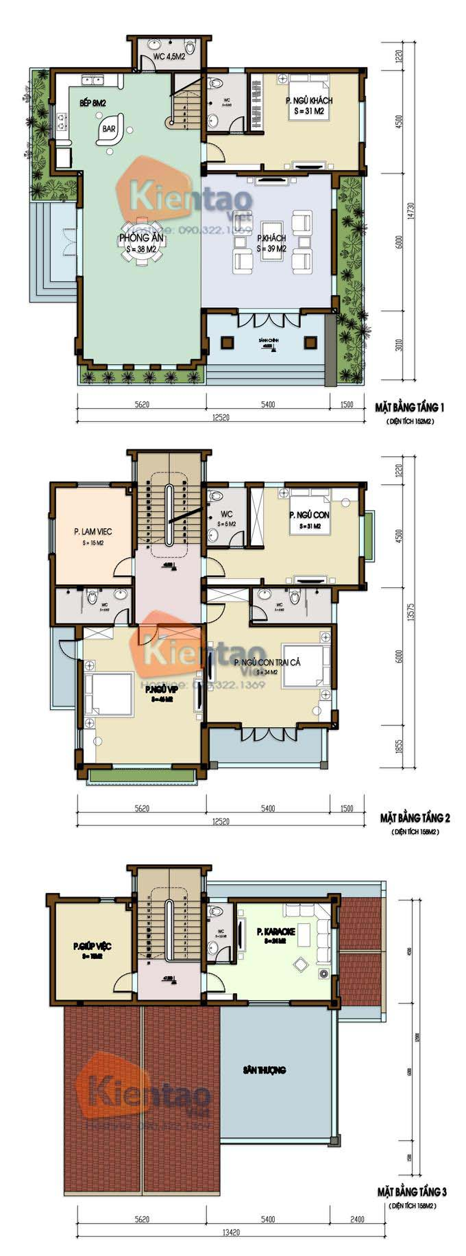 Phương án công năng - Thiết kế biệt thự đẹp 2 tầng 1 tum hiện đại