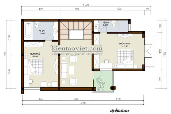 MB tầng 2 - Biệt thự đẹp 3 tầng hiện đại 100m2