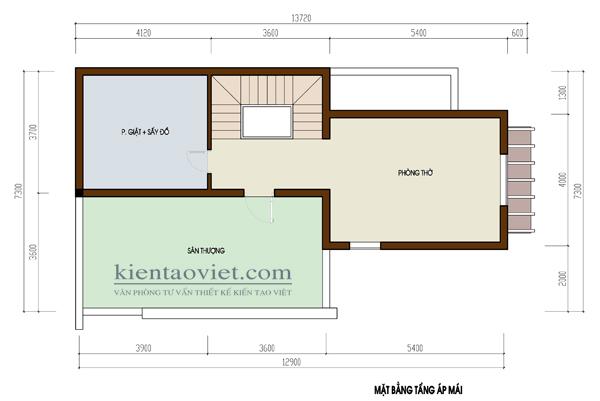 Tầng áp mái - Biệt thự đẹp 3 tầng hiện đại 100m2