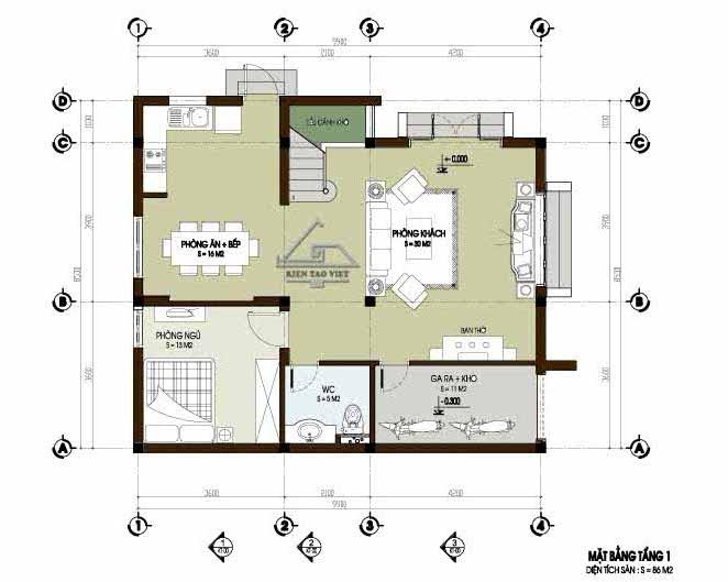 Tầng 1: Biệt thự nhà vườn 2 tầng 86m2 tại Hưng Yên