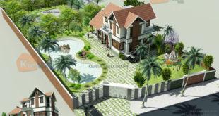 Tổng thể mẫu thiết kế biệt thự vườn 2 tầng 150m2 tại Phúc Thọ
