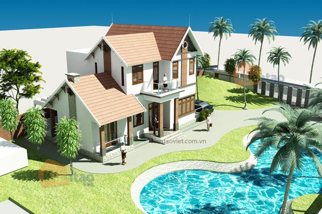 Phối cảnh 1 - Mẫu nhà vườn 2 tầng 150m2 có bể bơi tại Phúc Thọ