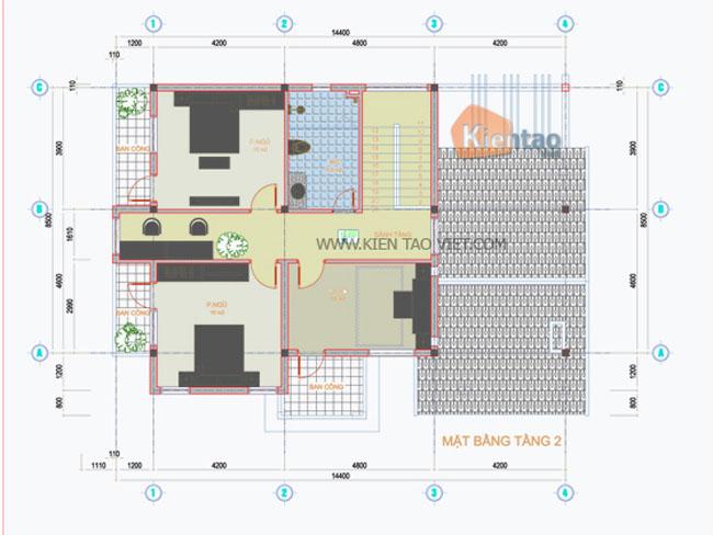 Mặt bằng 2 - Biệt thự vườn 2 tầng 150m2 tại Phúc Thọ