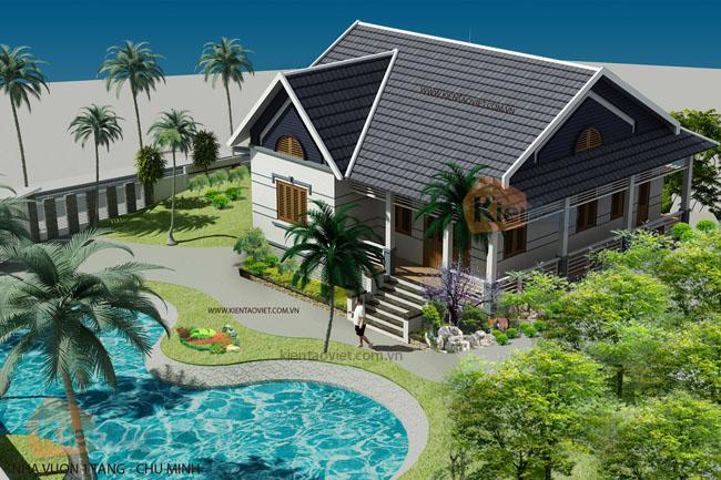 Tổng thể mẫu thiết kế nhà vườn 125m2 hiện đại mái thái