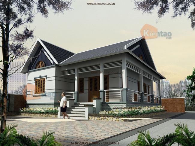 PC1 - Thiết kế nhà vườn 125m2 hiện đại mái thái