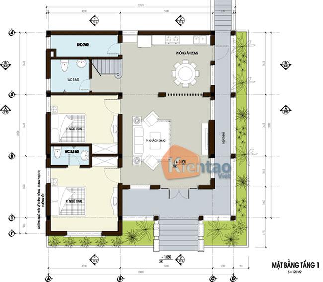 Công năng tầng 1: Mẫu nhà vườn đẹp 125m2