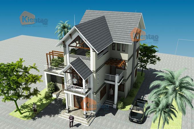 Toàn cảnh - Thiết kế biệt thự 3 tầng mái thái đẹp 90m2 tại Thanh Trì