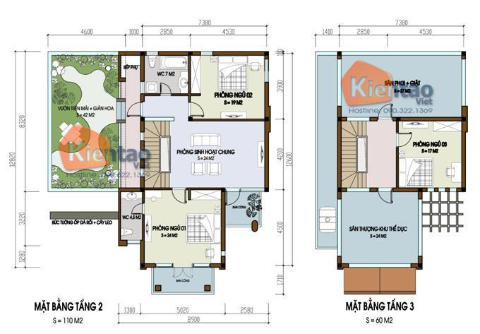 Mặt bằng tầng 2+3 - Thiết kế biệt thự 3 tầng mái thái 90m2