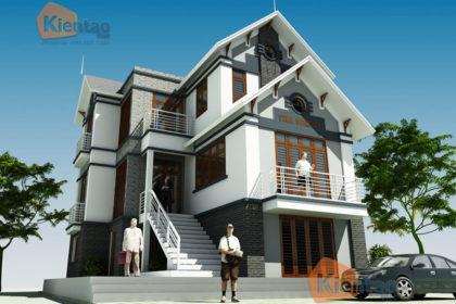 Thiết kế kiến trúc mẫu biệt thự 3 tầng đẹp mái thái cách tân