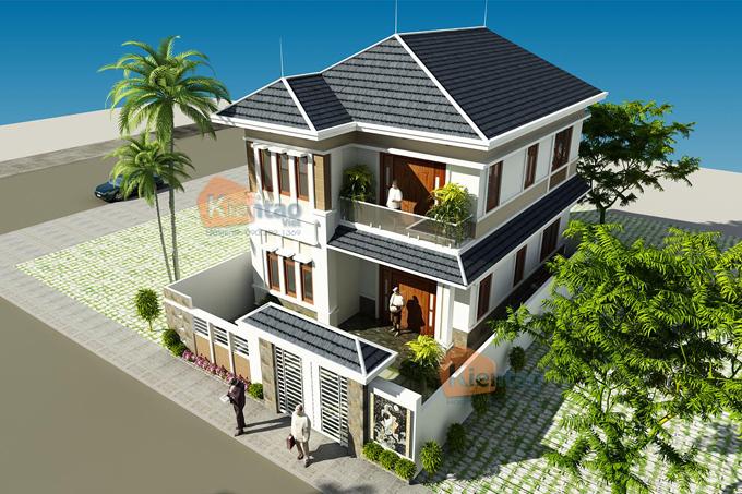 Mẫu biệt thự đẹp 2 tầng 110m2 tại Hải Phòng - Phối cảnh 01 - BT33
