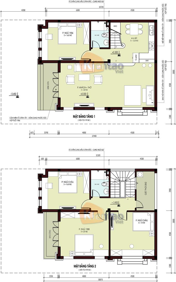 Mẫu biệt thự đẹp 2 tầng 110m2 tại Hải Phòng - Mặt bằng công năng - BT33