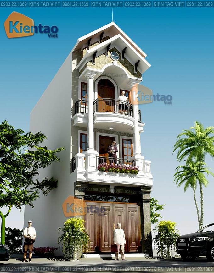 Mẫu nhà phố 3 tầng 4.2x18m giả biệt thự tại Hải Phòng - Phối cảnh kiến trúc 04 - NP37