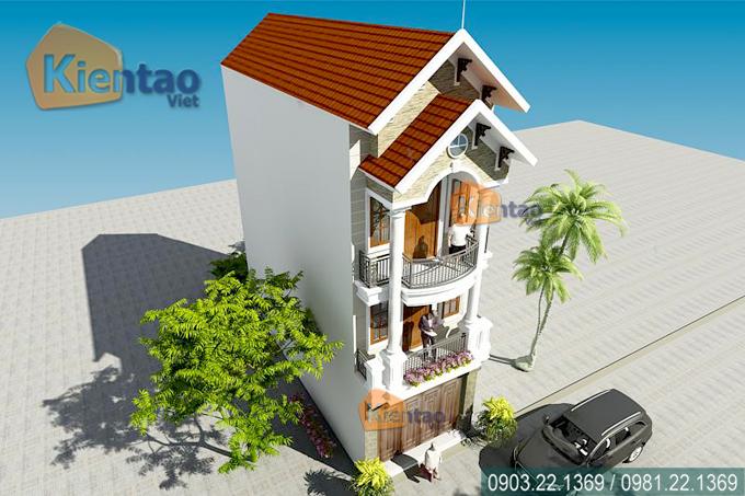 Mẫu nhà phố 3 tầng 4.2x18m giả biệt thự tại Hải Phòng - Phối cảnh kiến trúc 02 - NP37