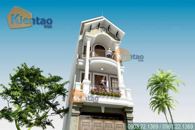 Mẫu nhà phố 3 tầng 4.2x18m giả biệt thự tại Hải Phòng - Phối cảnh kiến trúc 03 - NP37