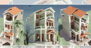 Mẫu nhà phố chữ L cao 2.5 tầng 6x11m giả biệt thự tại Hải Phòng - Phối cảnh 01 - NP40