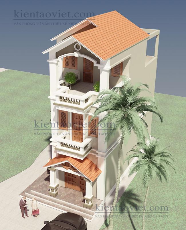 Mẫu nhà phố chữ L cao 2.5 tầng 6x11m giả biệt thự tại Hải Phòng - Phối cảnh 03