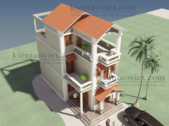 Mẫu nhà phố chữ L cao 2.5 tầng 6x11m giả biệt thự tại Hải Phòng - Phối cảnh 04