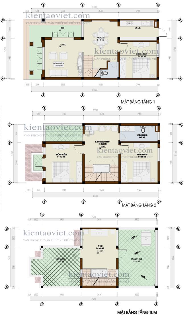 Mẫu nhà phố chữ L cao 2.5 tầng 6x11m giả biệt thự tại Hải Phòng - Mặt bằng tầng 1+2+3