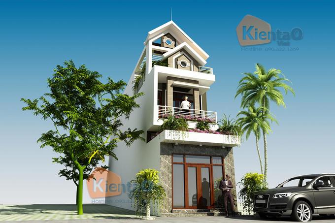 Thiết kế nhà phố 3 tầng 1 lửng 4.1x24m tại Hải Phòng - Phối cảnh kiến trúc 02 - NP39
