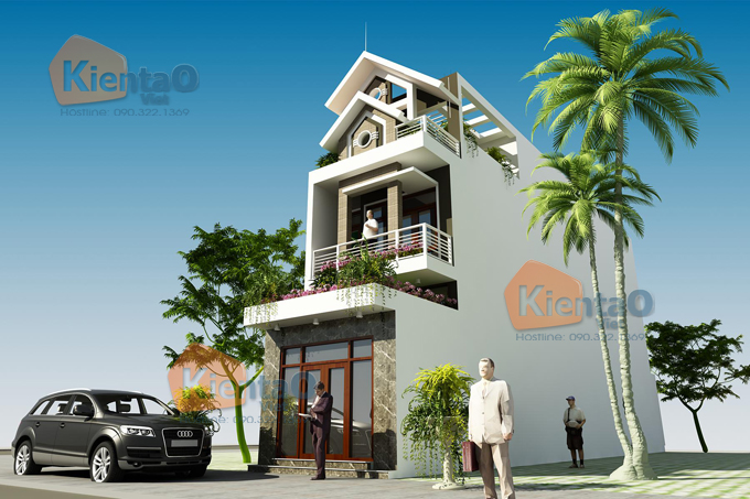 Thiết kế nhà phố 3 tầng 1 lửng 4.1x24m tại Hải Phòng - Phối cảnh kiến trúc 03 - NP39