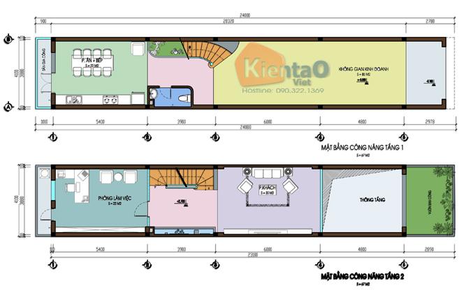 Thiết kế nhà phố 3 tầng 1 lửng 4.1x24m tại Hải Phòng - Mặt bằng tầng 1+lửng - NP39