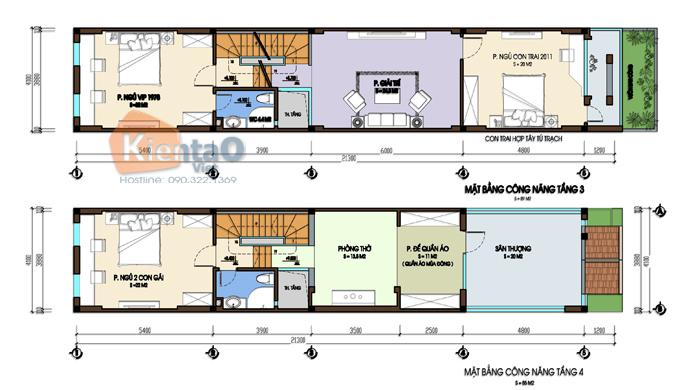 Thiết kế nhà phố 3 tầng 1 lửng 4.1x24m tại Hải Phòng - Mặt bằng tầng 2+3 - NP39