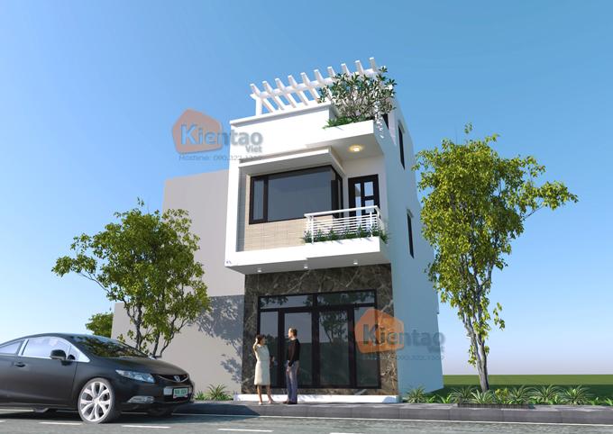 Thiết kế nhà phố tại Hải Phòng cao 2.5 tầng rộng 4.5x12m - Phối cảnh 02