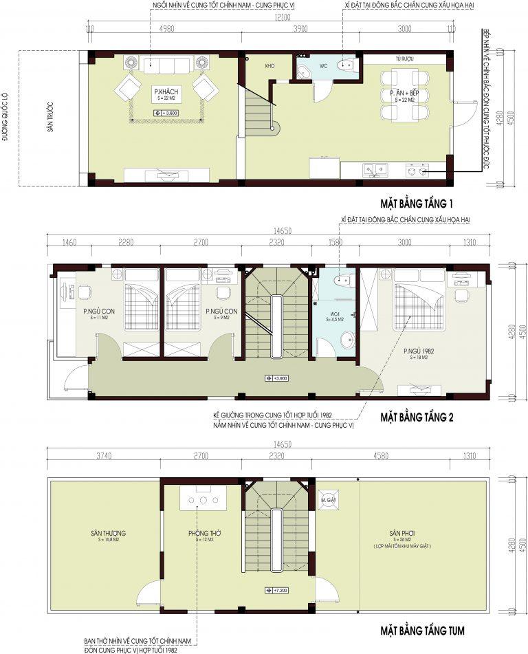 Thiết kế nhà phố tại Hải Phòng cao 2.5 tầng rộng 4.5x12m - Mặt bằng công năng