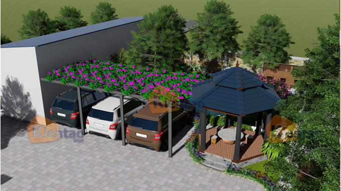 Phim 3D cảnh quan sân vườn mẫu biệt thự mini 1 tầng đẹp - Phối cảnh 02