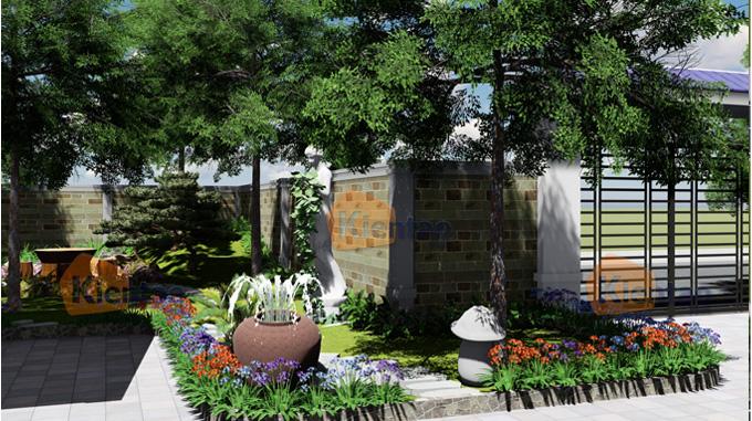 Phim 3D cảnh quan sân vườn mẫu biệt thự mini 1 tầng đẹp - Phối cảnh 03