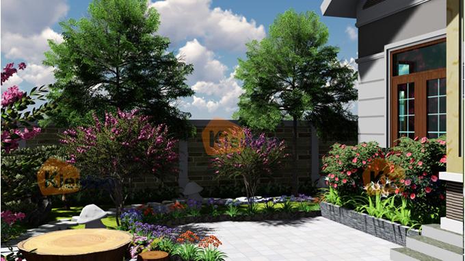 Phim 3D cảnh quan sân vườn mẫu biệt thự mini 1 tầng đẹp - Phối cảnh 04