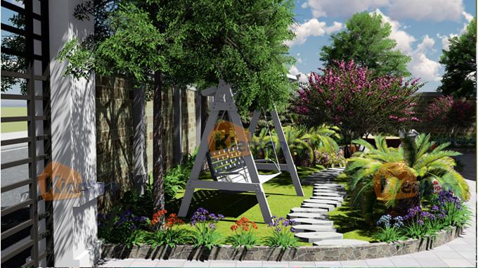 Phim 3D cảnh quan sân vườn mẫu biệt thự mini 1 tầng đẹp - Phối cảnh 05