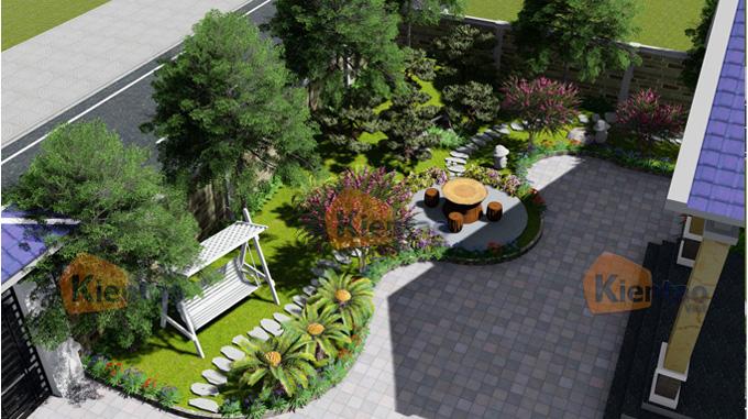 Phim 3D cảnh quan sân vườn mẫu biệt thự mini 1 tầng đẹp - Phối cảnh 06