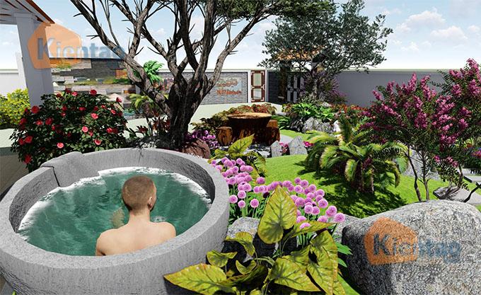 Mẫu nhà vườn 1.5 tầng 56m2 trong khu đất 500m2 tại Đồng Nai - PC Sân vườn 05