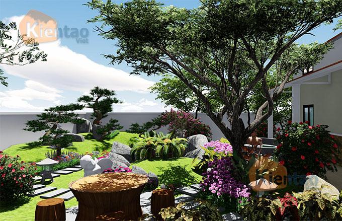 Mẫu nhà vườn 1.5 tầng 56m2 trong khu đất 500m2 tại Đồng Nai - PC Sân vườn 02