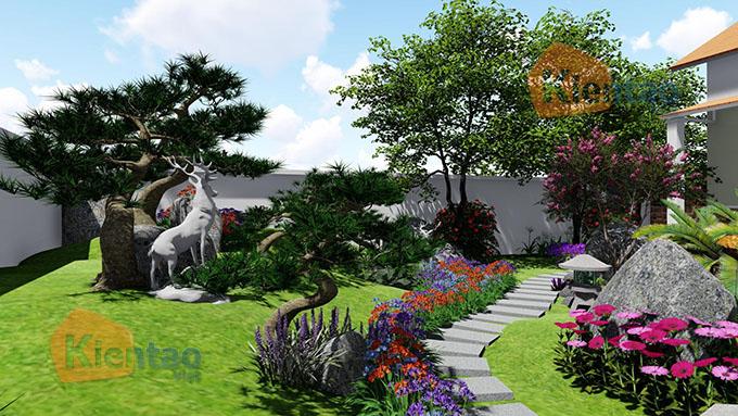 Mẫu nhà vườn 1.5 tầng 56m2 trong khu đất 500m2 tại Đồng Nai - PC Sân vườn 03
