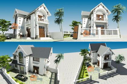 Mẫu biệt thự đẹp 2 tầng 80m2 cách tân tại Long Biên HN - Phối cảnh 01