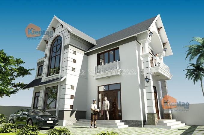 Mẫu biệt thự đẹp 2 tầng 80m2 cách tân tại Long Biên HN - Phối cảnh 02