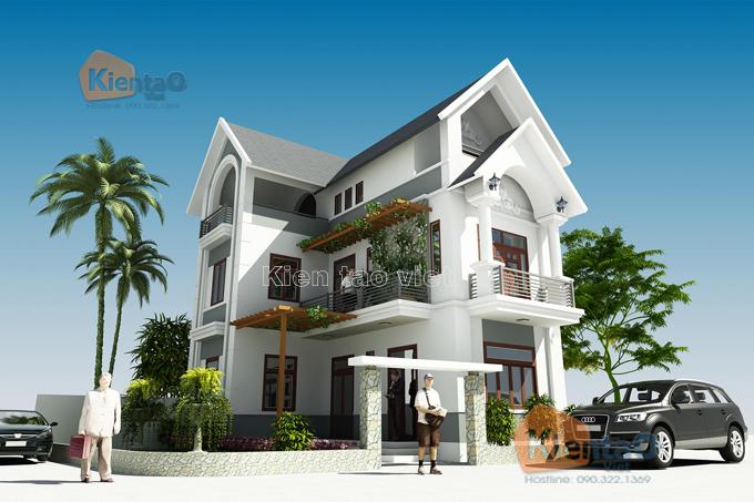 Mẫu biệt thự đẹp 3 tầng 62m2 tại Thanh Trì HN - Phối cảnh 01