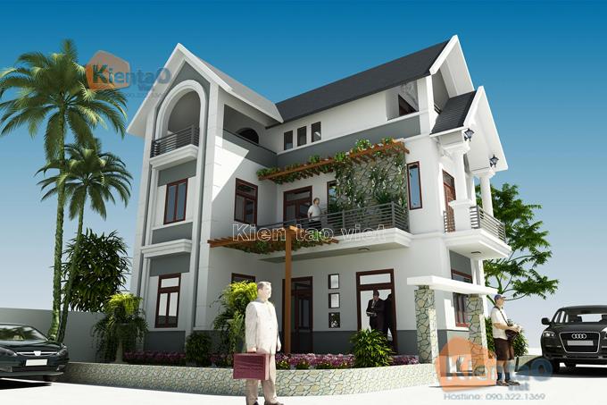 Mẫu biệt thự đẹp 3 tầng 62m2 tại Thanh Trì HN - Phối cảnh 02