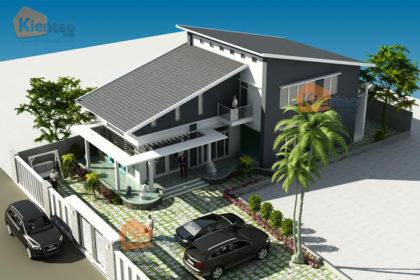 Mẫu biệt thự vườn 2 tầng 200m2 hiện đại tại Thái Bình - Phối cảnh 01