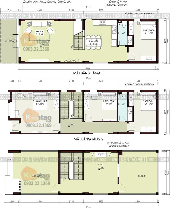 Mẫu nhà phố 3 tầng 5x16m hiện đại tại Hưng Yên - Mặt bằng công năng