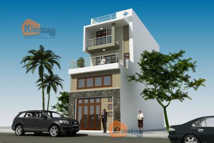 Mẫu nhà phố hiện đại 3 tầng 5.5x17.5m có gara tại Hưng Yên - Phối cảnh 01