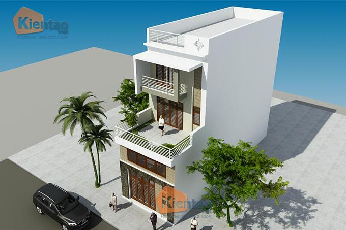 Mẫu nhà phố hiện đại 3 tầng 5.5x17.5m có gara tại Hưng Yên - Phối cảnh 03