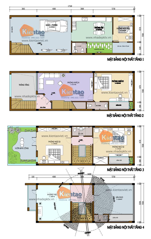 Mẫu nhà phố hiện đại 3 tầng 5.5x17.5m có gara tại Hưng Yên - Mặt bằng công năng