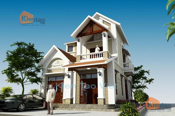 Nhà biệt thự 2 tầng cách tân 120m2 tại Sơn Tây HN - Phối cảnh 01