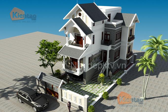 Nhà biệt thự đẹp 3 tầng 110m2 kiểu cách tân tại Sóc Sơn - Phối cảnh 01