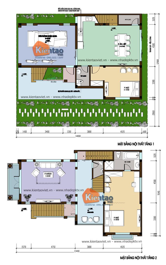 Nhà biệt thự đẹp 3 tầng 110m2 kiểu cách tân tại Sóc Sơn - Mặt bằng tầng 1+2