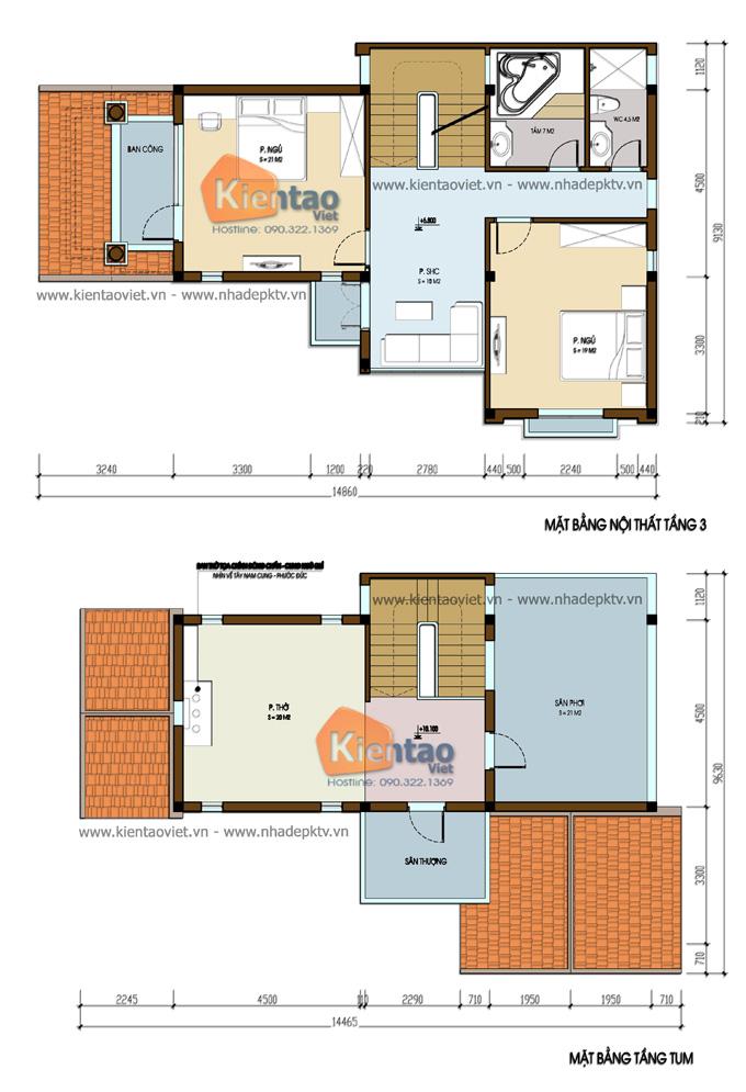 Nhà biệt thự đẹp 3 tầng 110m2 kiểu cách tân tại Sóc Sơn - Mặt bằng tầng 3+tum